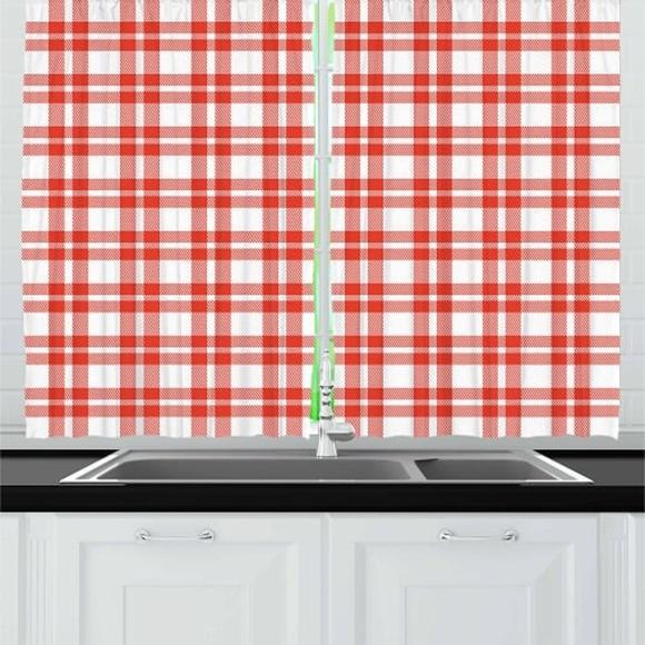 Kitchen Curtains Red Checkered Tartan Print